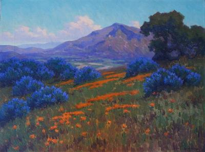 "John Gamble ""Lupine and Poppies"", 18 x 24 inches, oil on canvas, superb condition! Available"